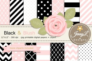 Black and Pink Digital Paper Clipart