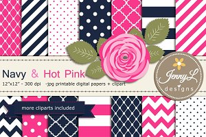 Navy & Hot Pink Digital Paper