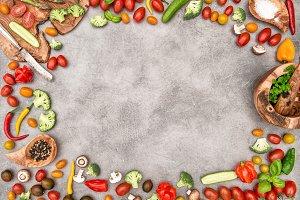 Food frame vegetables