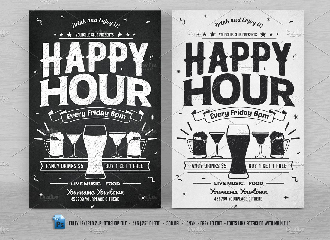 Happy Hour Flyers Flyer Templates Creative Market