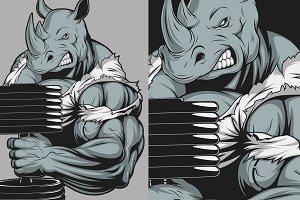 Ferocious strong rhinoceros