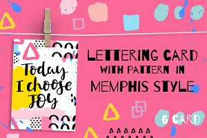 Lettering card with memphis pattern