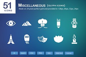 51 Miscellaneous Glyph Icons