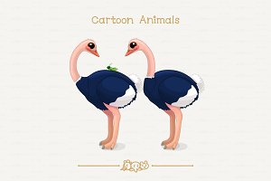 ♥ vector African ostriches