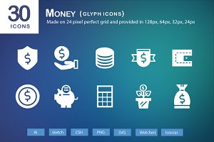 30 Money Glyph Icons