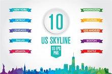 10 US Skyline. Low poly