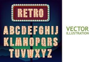 Vintage Letters. Retro Neon Alphabet