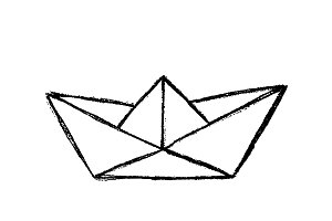 Paper boat sketch