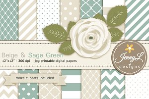 Beige and Sage Green Digital Paper