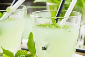 Cocktail with rum and mint