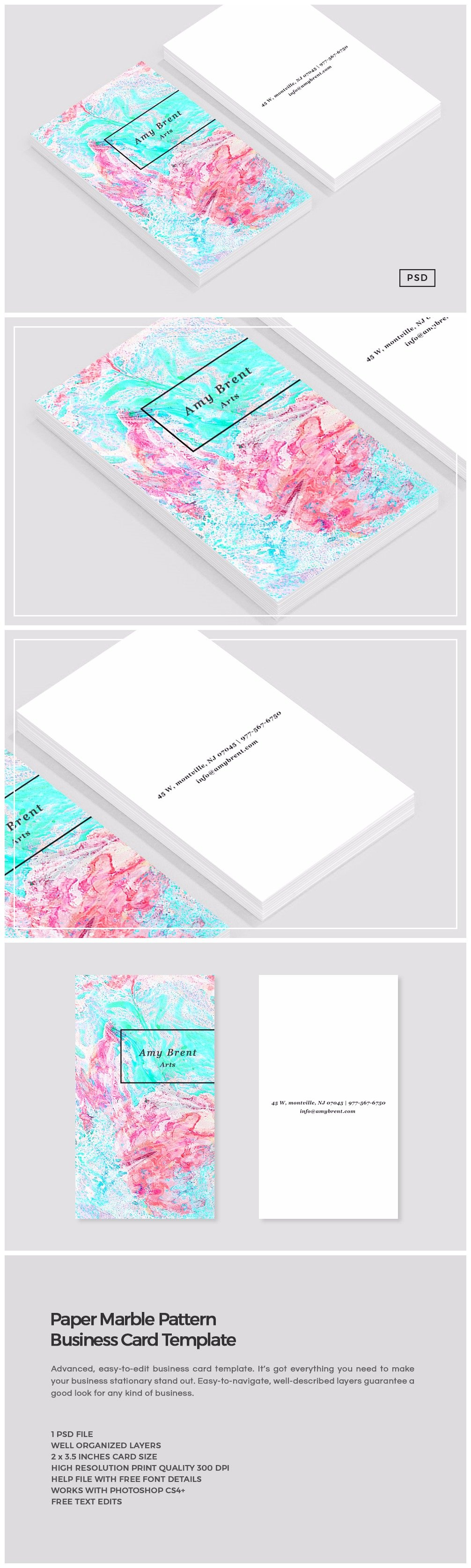 Lovely stock of business card size template business cards and paper marble pattern business card business card templates alramifo Image collections