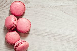 Pink macaroons french sweets stack