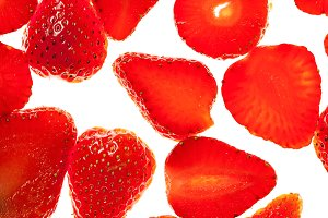 Strawberry slices fresh red backround