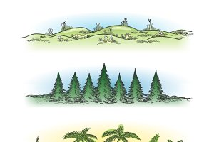 Hand drawn landscapes with trees