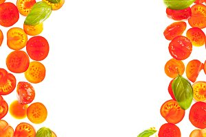Sliced tomato isolated food frame background
