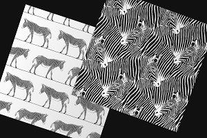 2 zebras seamless pattern