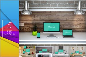 5 PSD Mockups - Interior Work Desk