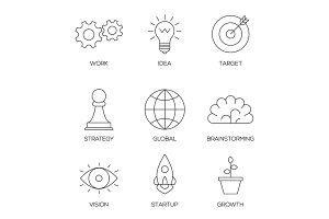 Business creative process icons