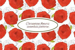 Carnation seamless pattern vector