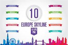 10 Europe skyline. Low Poly