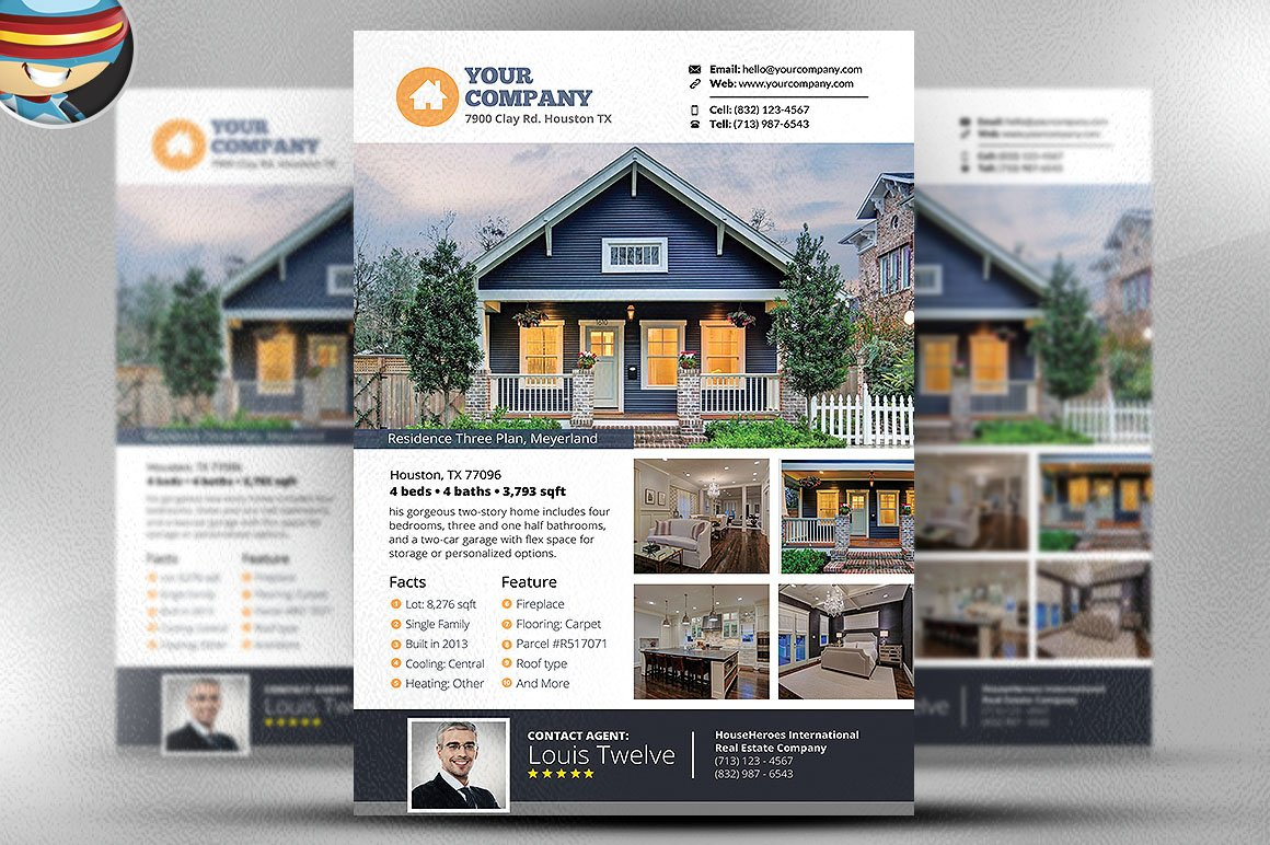Real estate flyer template v3 flyer templates creative for Real estate craigslist template
