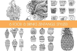 6 Food and Drinks Zentangle-inspired