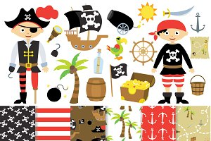 Pirate Clipart and Digital Paper Set