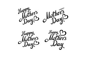 set Happy Mothers Day lettering