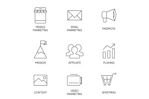 Business marketing outline icons