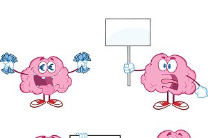 Brain Cartoon Mascot Collection - 6