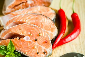 Fresh salmon steaks