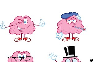 Brain Cartoon Mascot Collection - 7