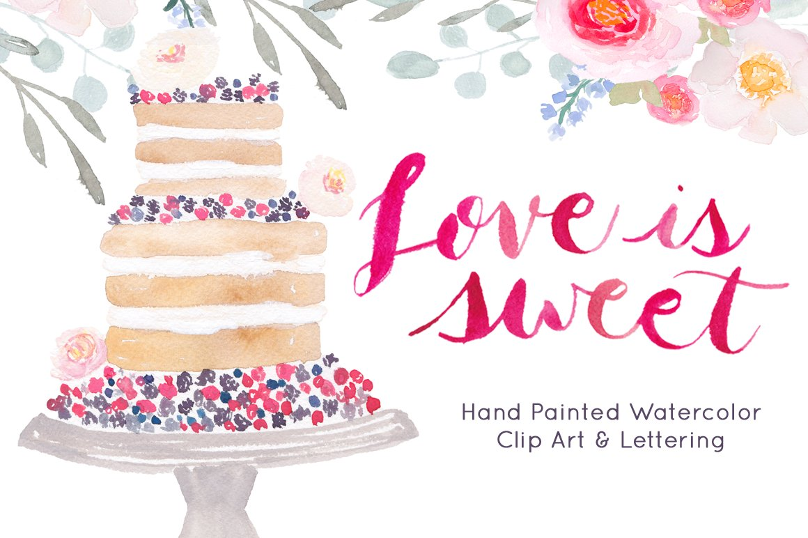 Watercolor Cake Clip Art : Wedding Cake Watercolor Clip art ~ Illustrations ...