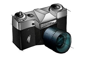 Cartoon Vintage Photocamera. Vector.