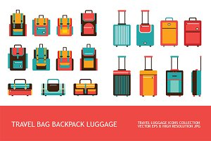 Luggage Travel Bag Backpack icon set