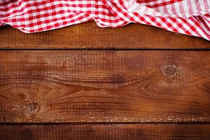 Wooden background with tablecloth