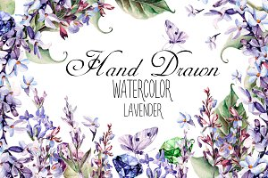 Beautiful watercolor Lavender