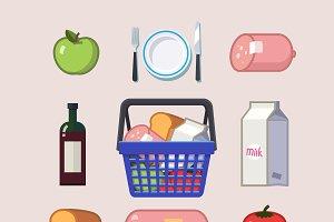 Tasty food flat icon set