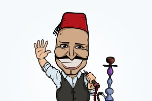 Turkish man with hookah waving hand