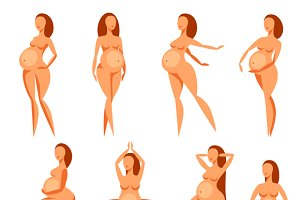 Set of pregnant women.
