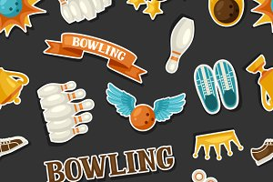 Patterns with bowling items.