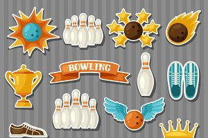 Set of bowling items.