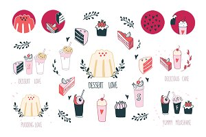 Sweet food Hand drawn Desserts set