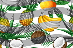 Patterns with tropical fruits.