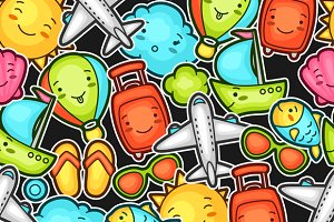 Seamless travel kawaii patterns.
