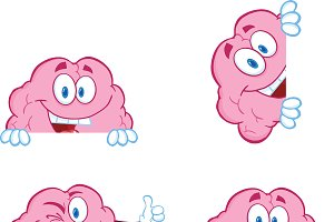 Brain Cartoon Mascot Collection - 9