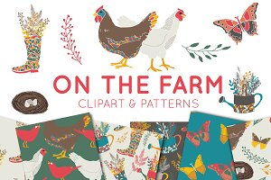 On The Farm Clipart & Digital Paper