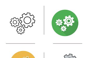 Cogwheels icons. Vector