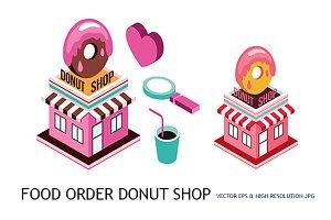 Isometric Donut shop Food order set