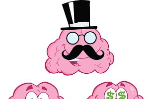 Brain Cartoon Mascot Collection - 12